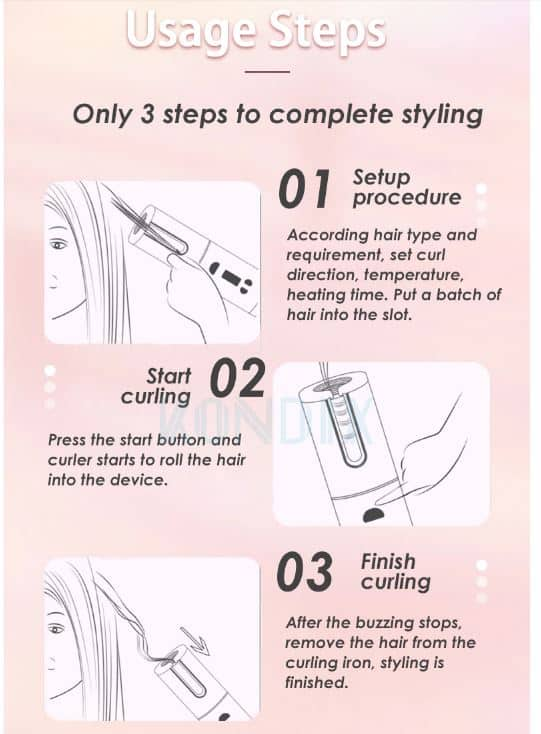 3 simple steps to use auto curling iron